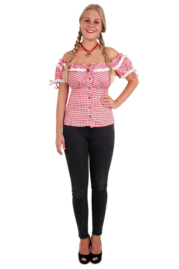 Tiroler blouse rood/wit dames maat 40