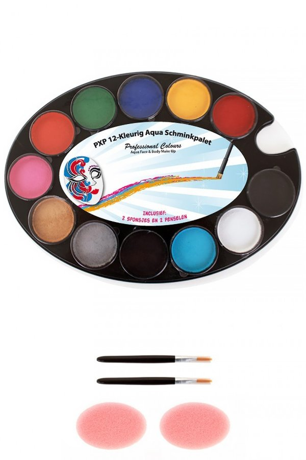PXP Professional Colours palet basic 12 x 4 gram with 2 sponges and 2 pencils