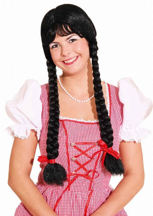 Long braided wig, black